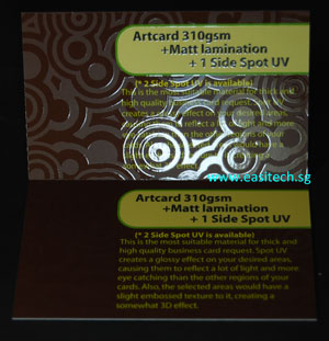 Artcard 310gsm + Matt Lamination + 1 Side Spot UV